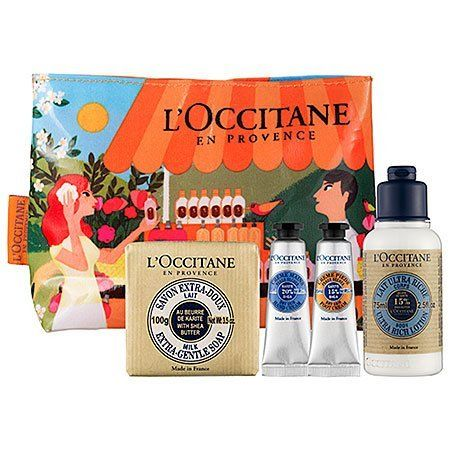 L'Occitane Shea Butter Body Care Nourish & Protect Set by L'Occitane. $25.00. What it is:A four-piece collection of L'Occitane's iconic shea butter body care to nourish and protect skin. What it does:Discover the exceptional moisturizing properties of shea butter with this sensational four-piece set. Gently cleanse your skin with the 100 percent vegetable based Shea Milk Soap and soften with the silky Shea Butter Body Lotion. The bestselling Shea Butter Hand and Foot Creams a...