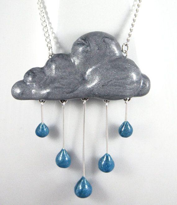 Rain Cloud Necklace Jewelry Handmade by NeverlandJewelry on Etsy, $28.00