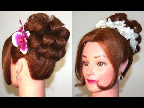 Вечерняя прическа на средние волосы. Hairstyle for medium hair - YouTube