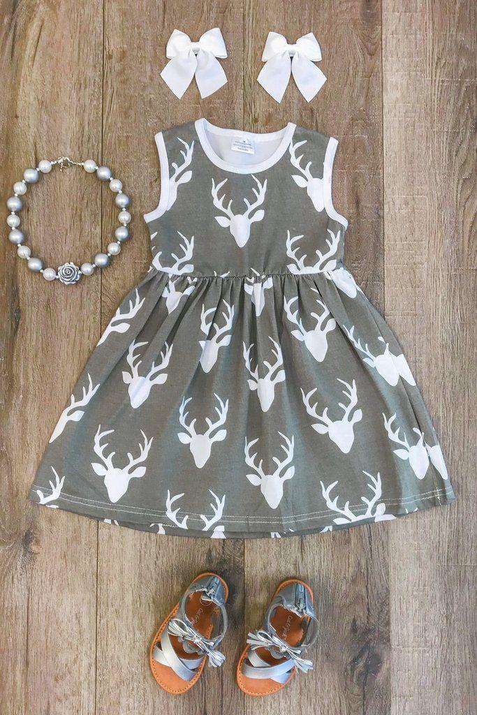 Gray Deer Tank Dress