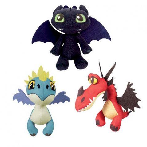 Jak vycvičit draka - Plyšoví draci. Jsou vyrobeny z měkkého materiálu a neobsahují žádné malé části, a proto jsou vhodné i pro ty nejmenší děti.   Druhy:  - Bezzubka: černý drak  - Buřina: modrý drak  - Tesák: červený drak