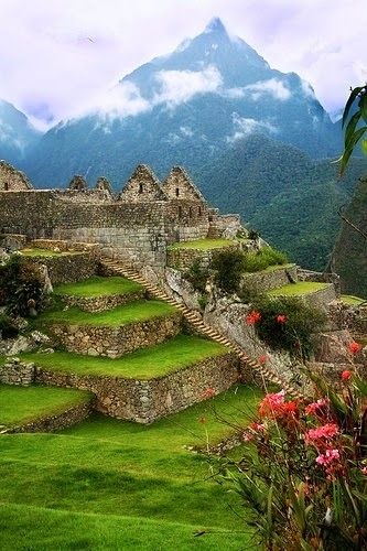 Machu Picchu, Peru Recreate with mixed media art piece... painting on canvas with pebbles to create the ruins.