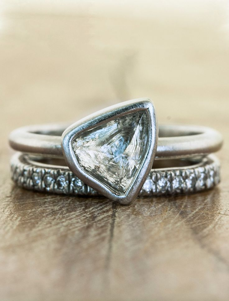 Nature Inspired Engagement Rings with rough diamonds by Ken and Dana Design