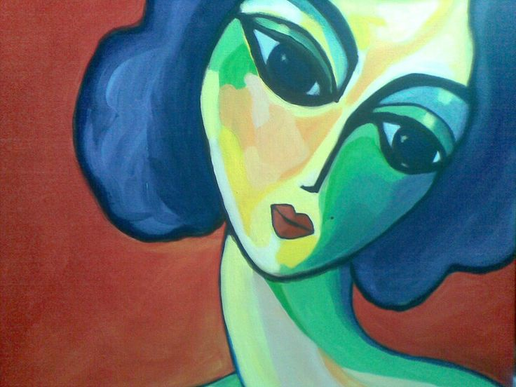 Lady Blue on Red - acrylic on canvas by Lisa Peterson