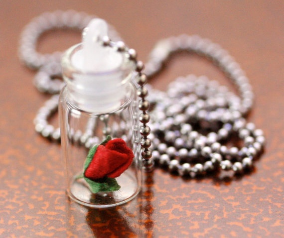 Tiny Rose in a Glass Jar Pendant Great for Mother's Day by Pinkkis, $12.00