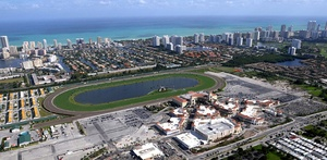In this aerial view, the village is the bottom right of Gulfstream Park Racing & Casino.