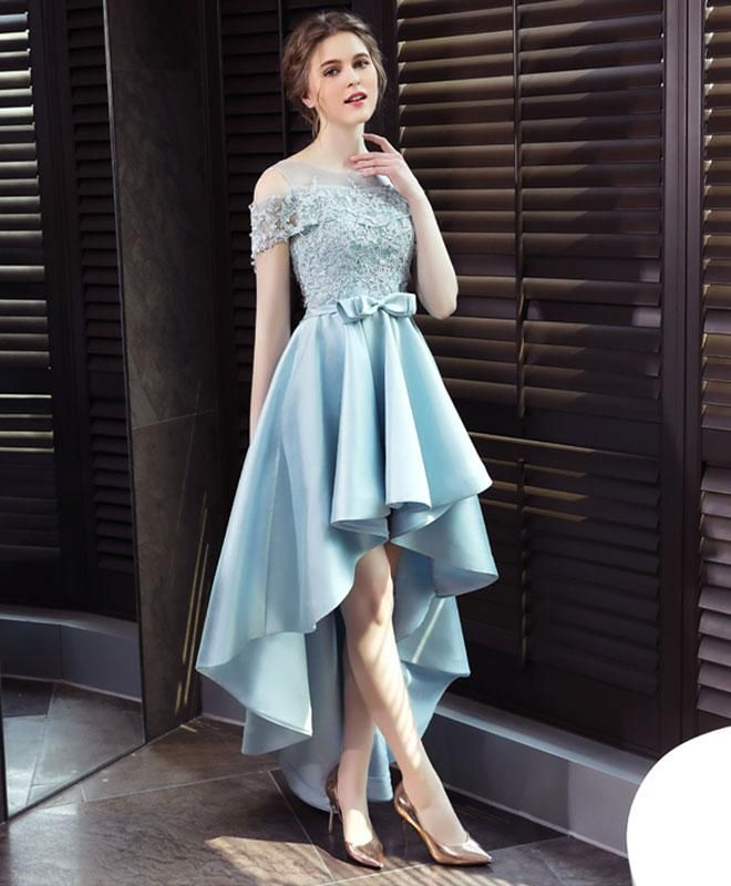 e4a1328e2a Light blue satin lace prom dress