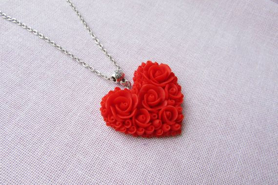 Heart necklace red rose Heart pendant Polymer clay Valentine's day gift ideas Red heart necklace Jewelry handmade necklace