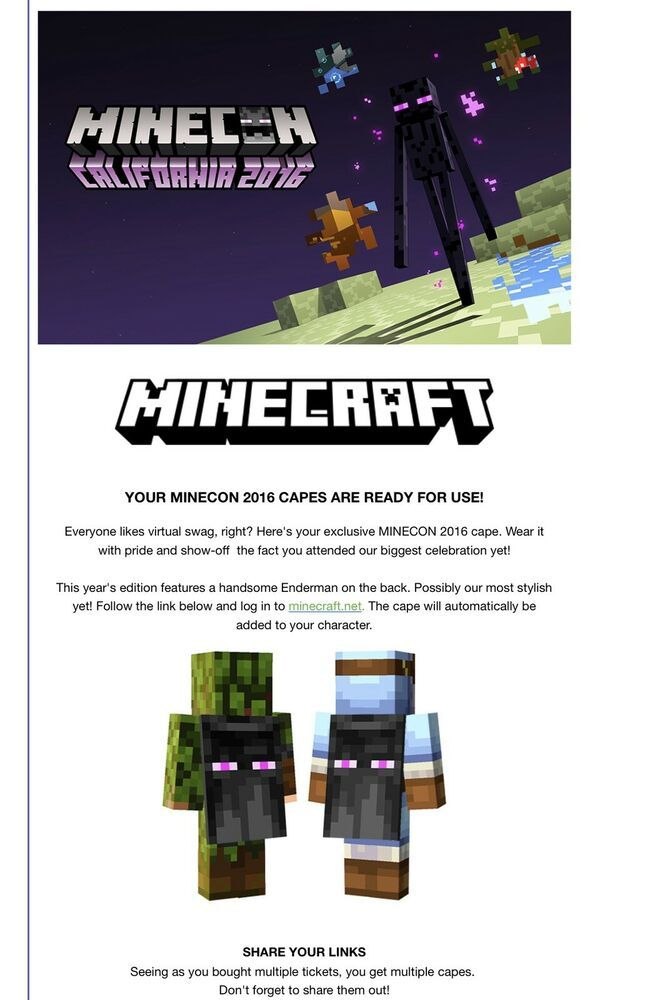 Minecon 2016 Cape Code Not Used Redeemable #minecraft