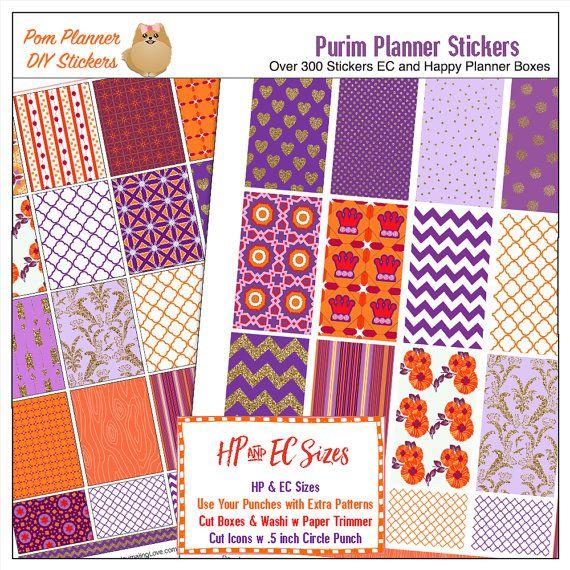 Purim Printable Planner Sticker Kit in 5 PDF by DigiScrapDelights #purim #printable #plannerstickers #plannerlove #planneraddict