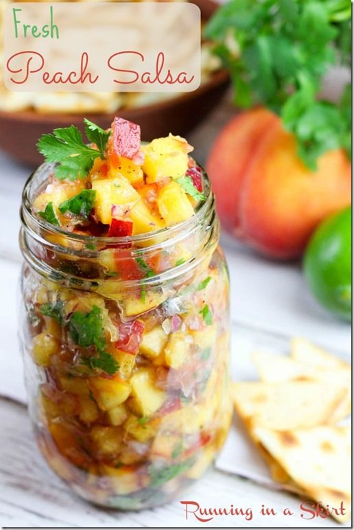 Fresh Peach Salsa Recipe! A clean eating & quick summer recipe.  This fresh fruit salsa recipe is perfect with chips or crackers.  Tastes amazing! | Running in a Skirt