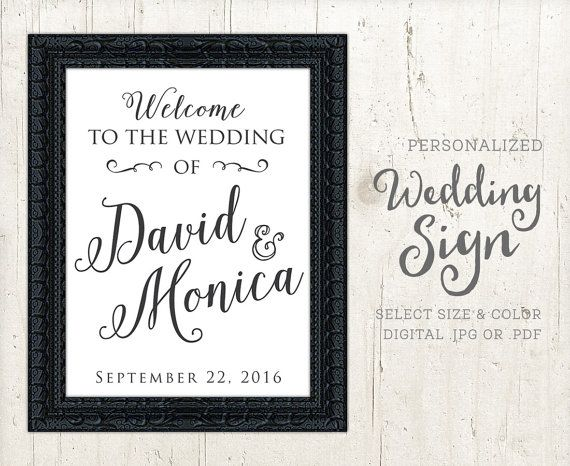 Welcome Sign Wedding Ceremony Personalized