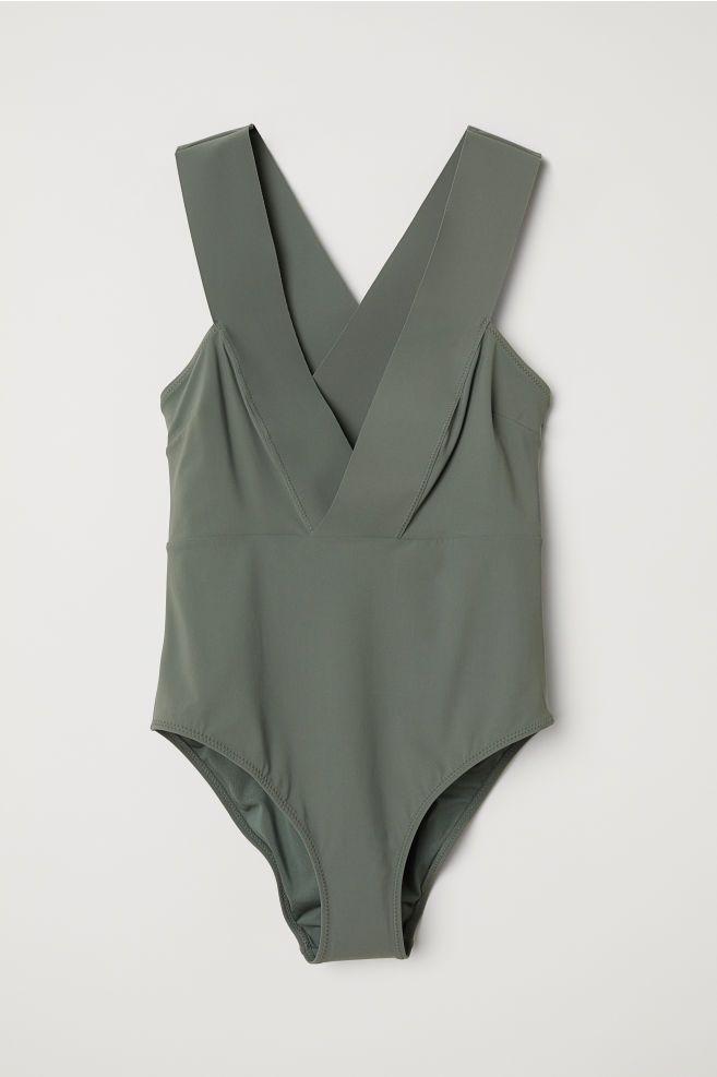 Vネックスイムスーツ - カーキグリーン - Ladies | H&M JP 3