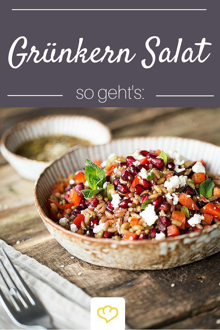 Der sorgt garantiert für Abwechslung auf dem Salat-Teller: Grünkern-Salat mit Granatapfel, Paprika und Minze