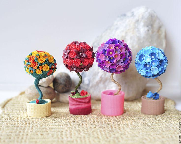 Купить Топиарий цветочный (разные, см. фото) - подарок сотруднику, подарок другу, для офиса, для интерьера