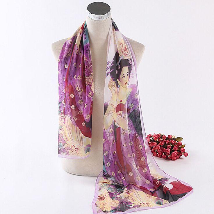 Hot New Nice Women's Long Soft Silk Printing Beauty Women Wrap Shawl Scarves