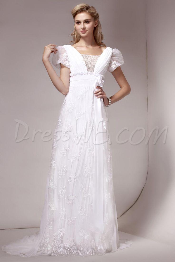 ファンシーなウェディングドレス シース Vネック 半袖コートレース 9675559 - プラスサイズウェディングドレス - Dresswe.Com