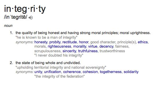 The gallery for --> Integrity Definition