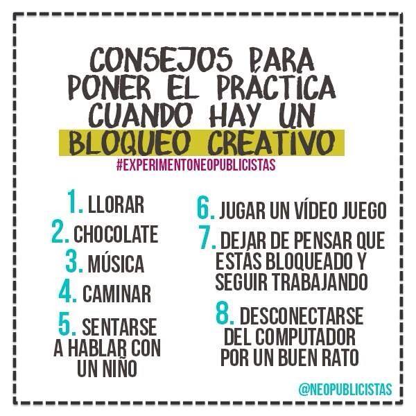 ¿Tenés un bloqueo creativo? Poné en práctica estos consejos ;-) #creatividad