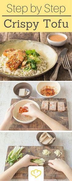 Rezept für Tofu im Sriracha-Sesam-Mantel mit duftenden Kokosreis und leckerem Pak Choi - Ein richtig leckeres Asia-Gericht!