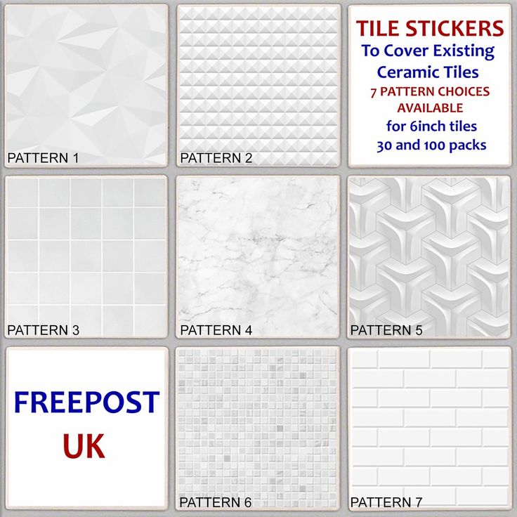 Details About White Pattern Tile Sticker Decal Cover Up