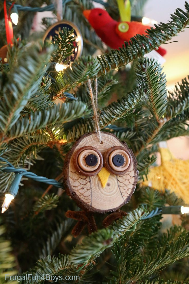 Ice cycle ornaments - How To Make Adorable Wood Slice Owl Ornaments And An Owl Tree