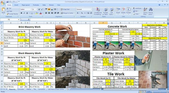 How To Determine Civil Work Quantities In Excel Sheet Masonry Work Civil Engineering Construction Civilization