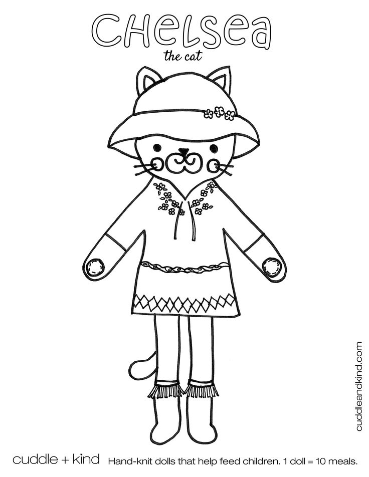 Cuddle Kind Chelsea The Cat Colouring Sheet Www
