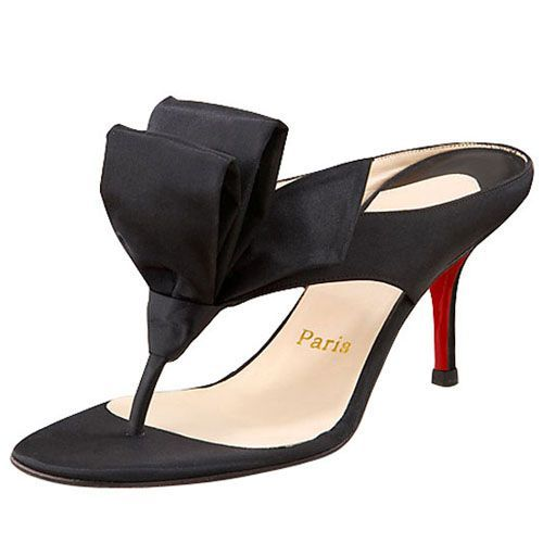 Christian Louboutin Tulp Thong 80mm Sandals Black Satin