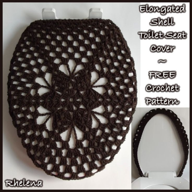 "This elongated shell toilet seat cover is a modification of my original shell toilet seat cover. Both patterns were designed by request. The elongated version is quite large, even for the lid pictured above. The reason for this is because I received a request to make it fairly large (18.5"" by"
