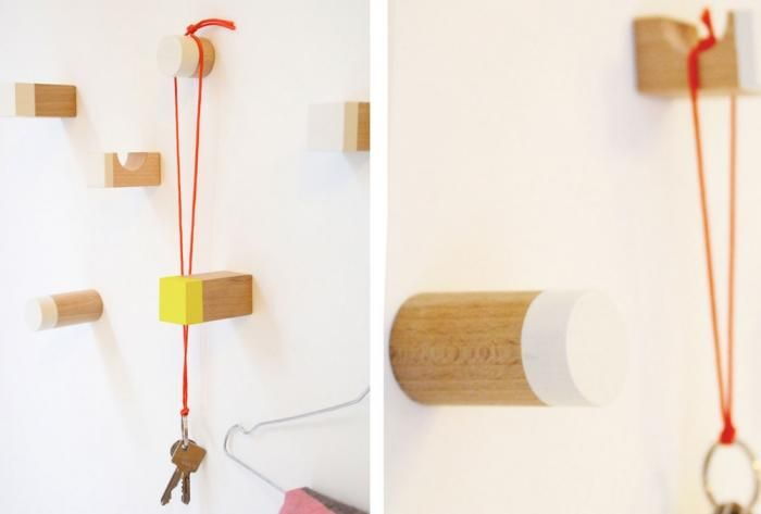 Here's a clever DIY hook idea from German design studio Snug, using an unexpected material—wood children's blocks. Snug, a Hannover-based des