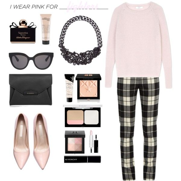 I Wear Pink For Fighters by umarijan on Polyvore featuring мода, MaxMara, Givenchy, Koché, Christian Dior, Salvatore Ferragamo, philosophy and IWearPinkFor