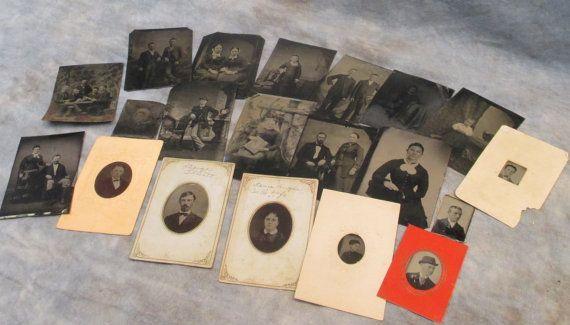 Lot 19 Tintype Photos Men Women Children Vintage by TheOldGrainery