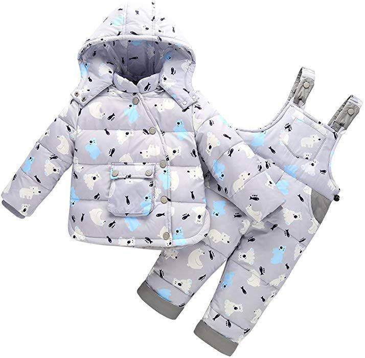Lpattern Unisex Baby Toddler Winter Snowsuit Cartoon Ski Snowpants Bib Down Coat Hooded Puffer Jacket 2 Piece Set Outfit Kids Outfits Snow Suit Warm Outerwear