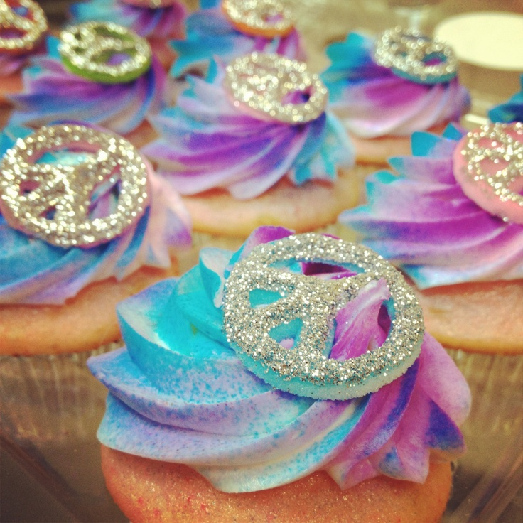 Tye dye , hippy , peace sign cupcakes