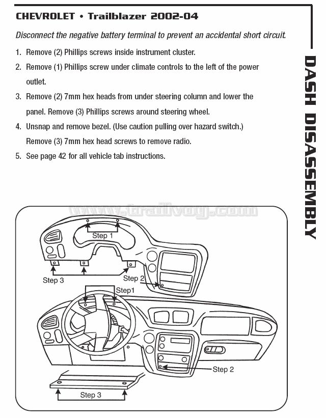 dash faceplate removal diagrams chevy trailblazer. Black Bedroom Furniture Sets. Home Design Ideas