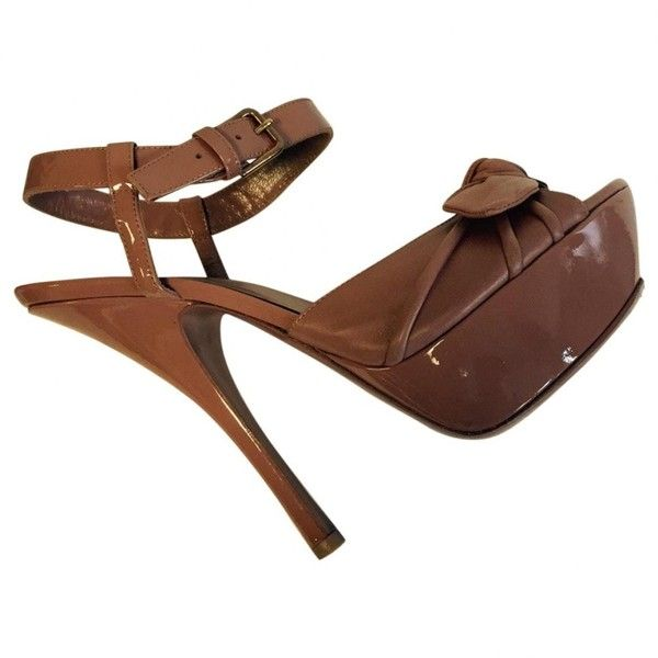 Pre-owned Yves Saint Laurent Camel Leather Heels (360 CAD) ❤ liked on Polyvore featuring shoes, pumps, camel, women shoes heels, camel shoes, yves saint laurent shoes, yves saint laurent, camel pumps and pre owned shoes