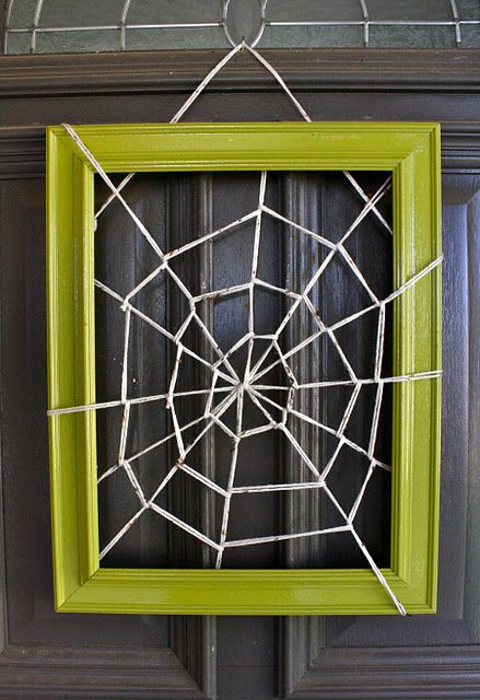 Framed Spider WebHalloween Decor, Spider Webs, Halloween Crafts, Front Doors, Halloween Wreaths, Halloween Doors, Pictures Frames, Halloween Ideas, Spiders Web