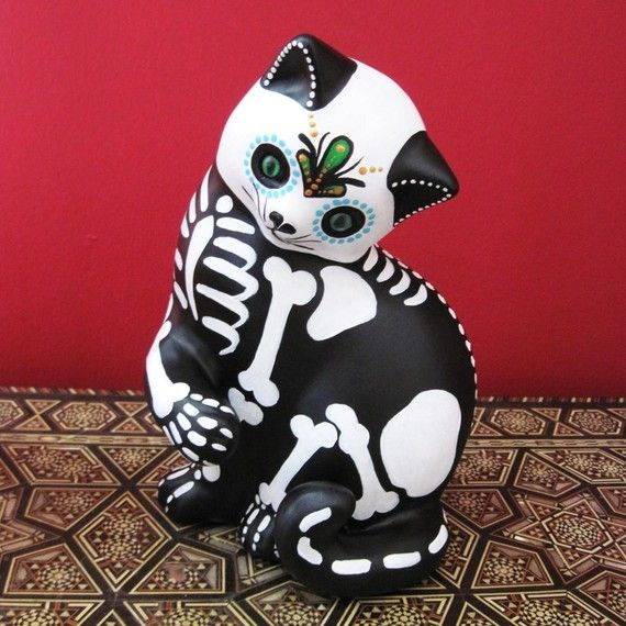 Day of the Dead SKELETON Kitty CAT Large Ceramic Altar Statue