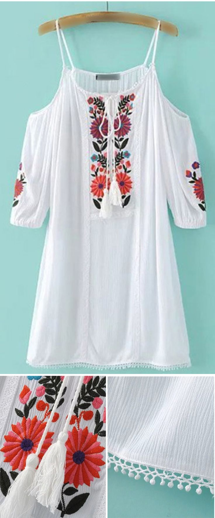 White Embroidery Cold Shoulder Tassel Dress