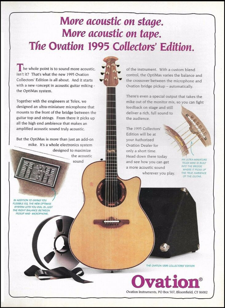 Ovation 1995 Collectors Series Edition Guitar Ad 8 X 11 Advertisement Print Ovation Ovation Guitar Guitar Acoustic Guitar Strings