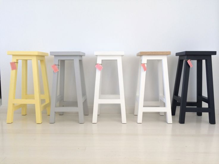 Gorgeous pastel and white timber stools.
