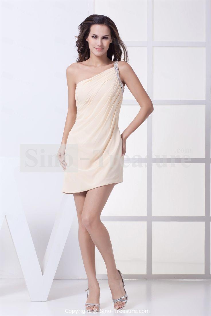 Pearl-Pink-One-Shoulder-Summer-Mini-Sheath-Cocktail-Dress-