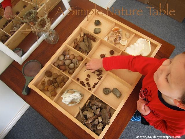 DIY this is an amazing nature table. What a fun idea! i am thinking of using small cardboard boxes glued together (like from teabags) and look around my Israeli neighborhood for fun items to play with. Check the original link for more ideas :http://aneverydaystory.wordpress.com/2012/08/21/reggio-emilia-setting-up-a-nature-table/