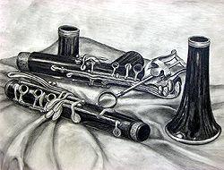 Nice drawing of a clarinet taken apart.