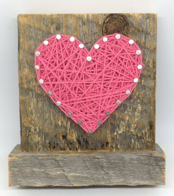 Sweet small freestanding wooden pink string art heart sign. Perfect for home acc #NailitArt