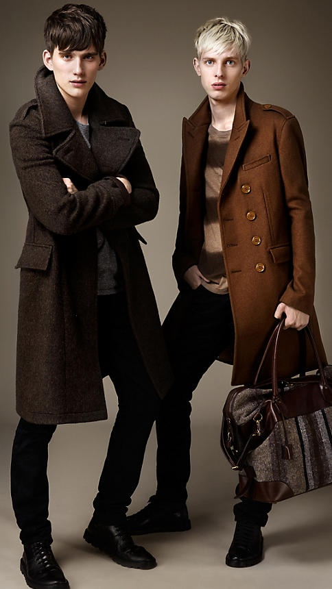these long brown coats / striped sweater / black leather shoes (Burberry Brit Autumn/Winter 2012)