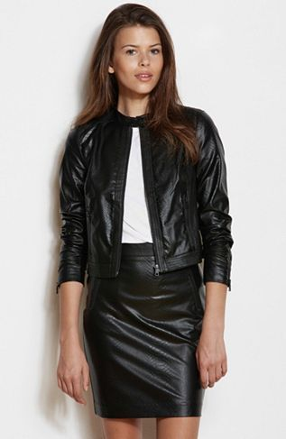 Embossed Leatherette Jacket - New Arrivals - Womens - Armani Exchange