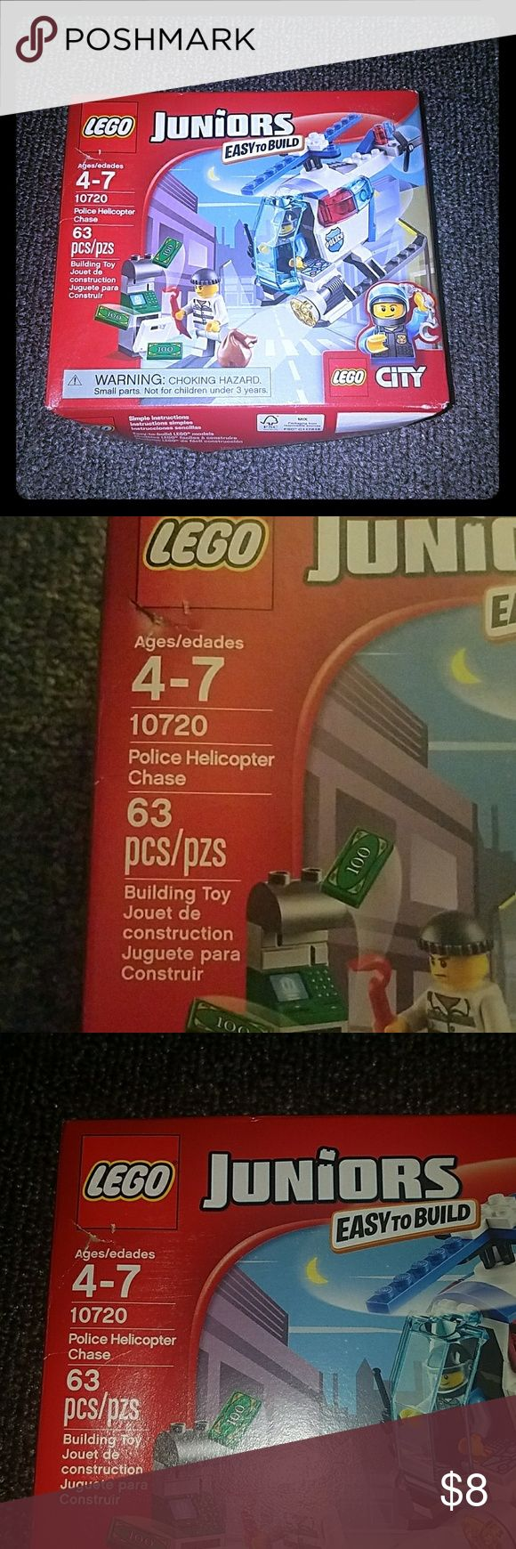 LEGOS!! Lego juniors -- easy to build -- police helicopter chase  Item is new, the box is a little dented Other