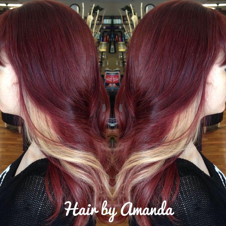 Dark red violet with blonde peekaboos.